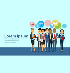 group of business people over network and vector image
