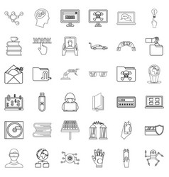 Hacker icons set outline style vector