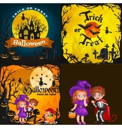 Halloween night background with pumpkin full moon vector image