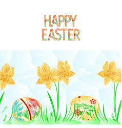 happy easter border seamless background daffodil vector image