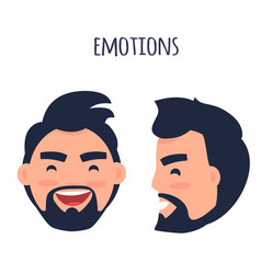 Happy emotion face from different angles vector