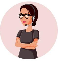 Happy female call center agent vector