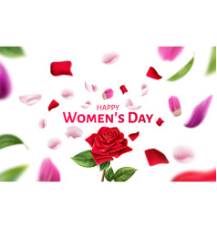 happy women day blurred petals and leaves vector image