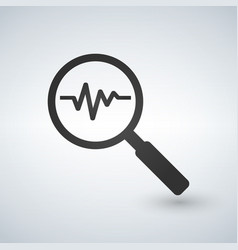 Heartbeat in magnifying glass icon cardiology vector