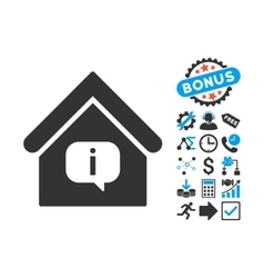 Hint Building Flat Icon with Bonus vector image