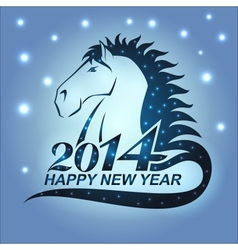 Horse with stars as a symbol of 2014 vector image