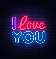 i love you neon sign love design template vector image