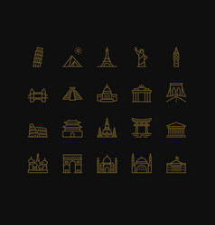 international landmarks and monuments icons vector image