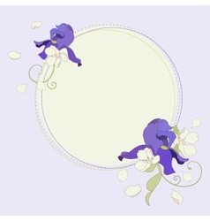 Iris and apple flowers beautiful round frame vector image
