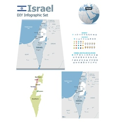 Israel maps with markers vector