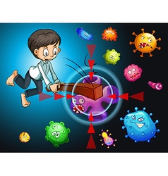 Man fighting against bacteria vector
