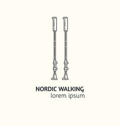 modern linear style nordic walking logotype vector image