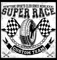 motorcycle tee graphic design vector image