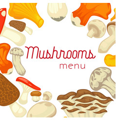 Mushrooms edible mushrooming poster flat vector
