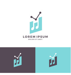 music chart statistic notes logo icon download vector image