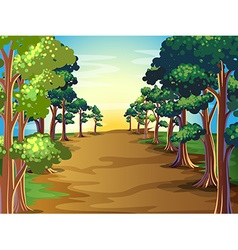 Nature scene with trees along the road vector