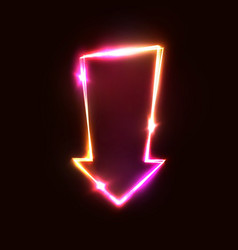 neon glowing arrow pointer sign on dark red vector image