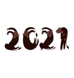 new year logo bulls in shape 2021 vector image