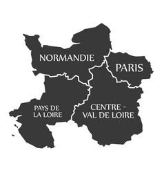 Normandie - paris - pays de la loire - centre vector