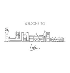 one single line drawing lisbon city skyline vector image