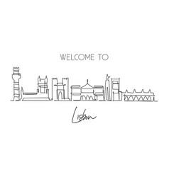 One single line drawing lisbon city skyline vector