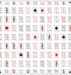 poker playing cards full deck seamless pattern vector image