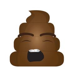 poop emoji yawning vector image
