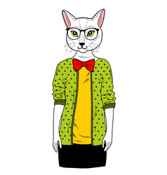 Pretty cat girl in clothes vector