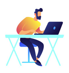 programmer working on laptop vector image