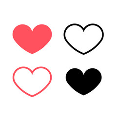 red hearts and black hearts flat icons vector image