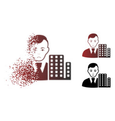 Sad fragmented pixel halftone city architect icon vector