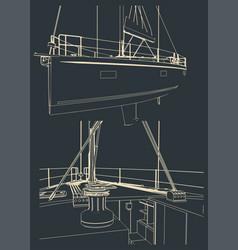 Sailing yacht sketches vector