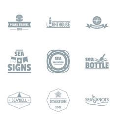 Sea surface logo set simple style vector