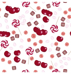 Seamless pattern of cherries and candy lollipops vector image