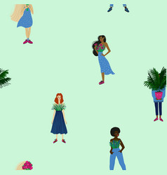 Seamless pattern with women different ethnicity vector