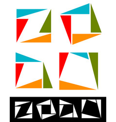 set of abstract colorful square icons logotypes vector image