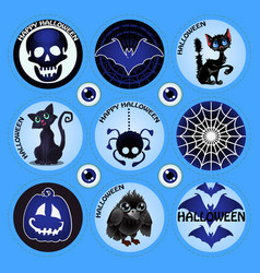 set of attributes of the holiday of halloween vector image
