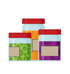 set of flat homemade jam bottle template vector image