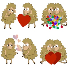 Set of funny couples of sheeps for Valentine vector image