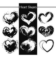 Set of nine artistic hearts vector