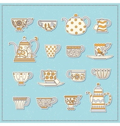 Set of stickers from teacups and teapots vector