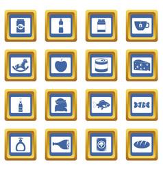 Shop navigation foods icons set blue vector