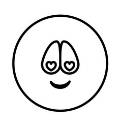 Silhouette emoticon charmed face expression vector