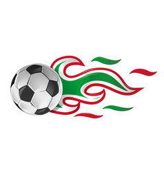 soccer ball on fire with italian and mexican flag vector image