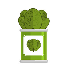 Spinach tin vegetarian food green leaves on white vector