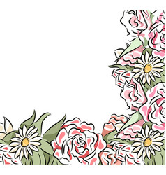 square card with delicate drawn flowers frame of vector image