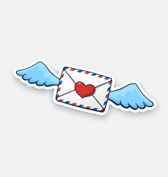 sticker flying closed envelope with wax heart and vector image
