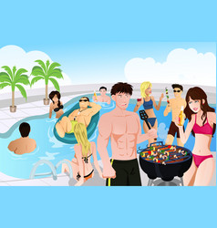 Summer pool barbeque party vector