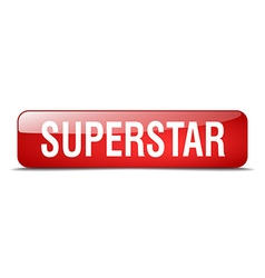 Superstar red square 3d realistic isolated web vector