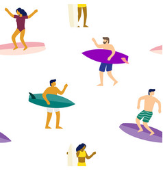 surfers on surfboards in sea waves seamless vector image